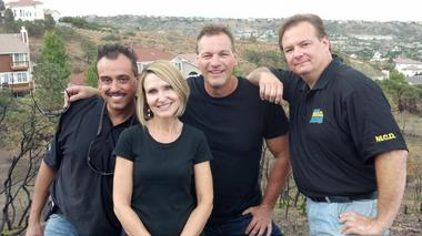 (Left to right) Edward Ranieri, Kari Openshaw, Joe Charboneau and Enzo Maddalena star in Catastrophe Inc., an HGTV reality show that follows a Cleveland-based company as it cleans up disasters.